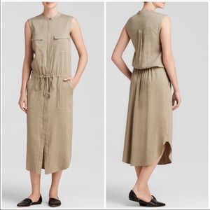 Vince Linen Blend Cargo Utility Shirt Dress